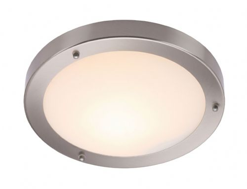 Satin nickel effect plate & frosted glass Flush IP44 Bathroom Light BX12421-17  (Double Insulated)